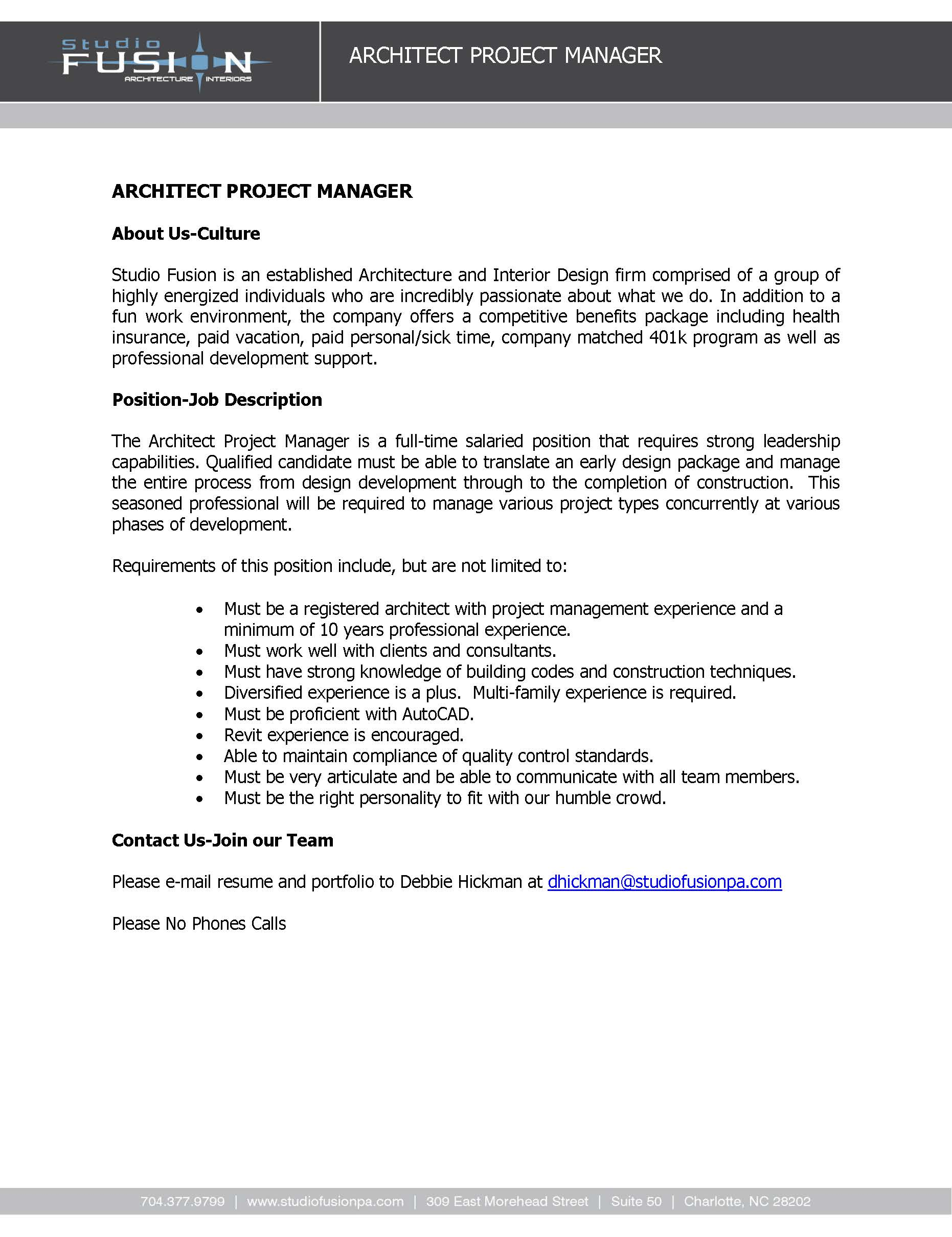 job description architect project manager